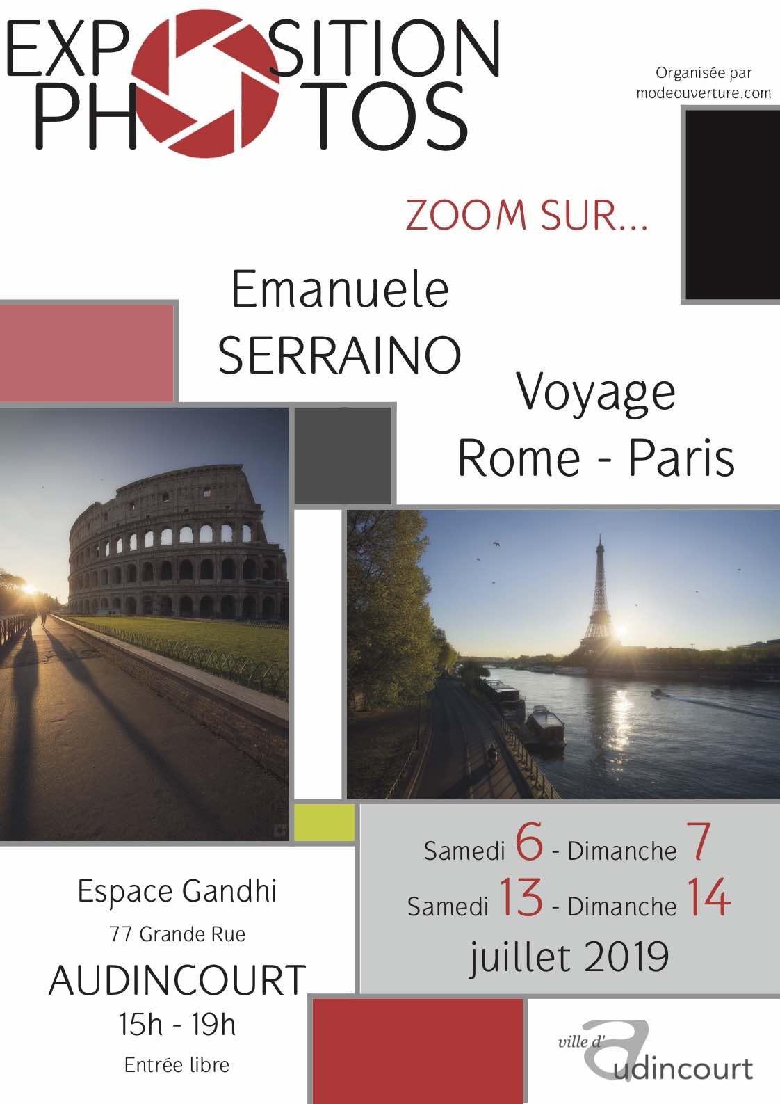Affiche juillet 2019 Voyage Rome Paris par Emanuele Serraino