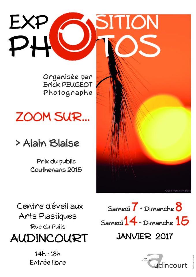 Affiche de l'exposition Zoom sur Alain Blaise